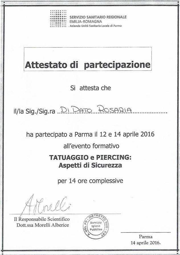 Corso AUSL Servizio Sanitario Regionale Emilia-Romagna - Tatuaggio Piercing Rosy Di Dato Dermopigmentista