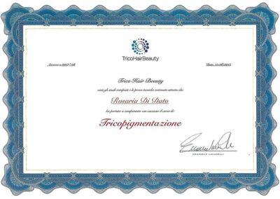 Attestato Tricopigmentazione Rosy Di Dato Dermopigmentista - Presso TricoHairBeauty di Emanuele Lucarelli